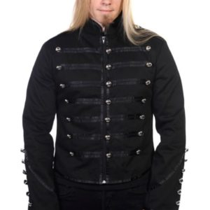 Black Banned Military Drummer Parade Jacket Goth Punk Adam Ant Style