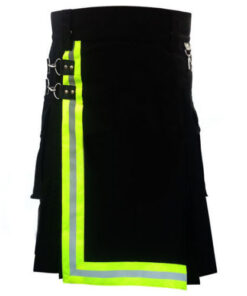 Black Firefighter Kilt with High Visible Reflector