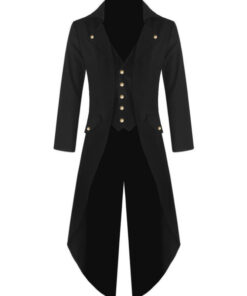 Black Handmade Steampunk Tailcoat Jacket Black Gothic Victorian Coat