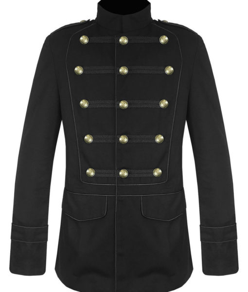 Black Military Jacket Goth Steampunk Vintage Pea Coat