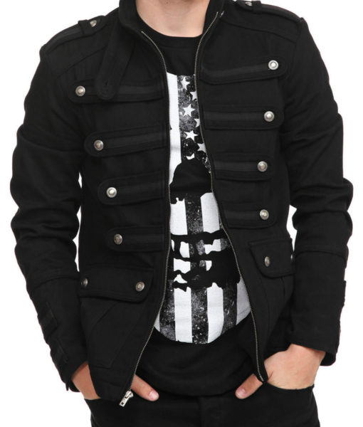 Black-Military-Jacket-Goth-Steampunk-Vintage-Pea-Coat-Open-style-510×600