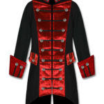 Black Red Velvet Trim Steampunk Vampire Goth Jacket Pirate Coat (1)