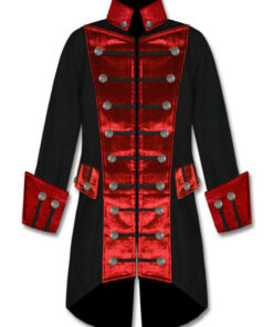 Black Red Velvet Trim Steampunk Vampire Gothic Jacket Pirate Coat