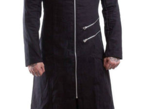 Black Trench Coat Goth Punk Long Jacket Hooded Custom