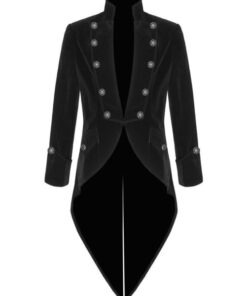 Black Velvet Goth Steampunk Victorian Tail Coat Jacket