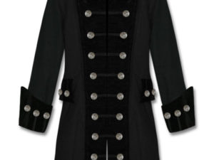 Black Velvet Trim Steampunk Vampire Goth Jacket Pirate Coat
