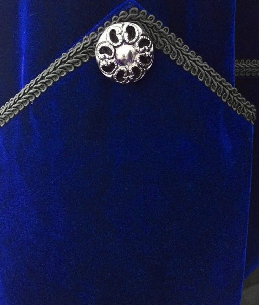 Blue Velvet Goth Steampunk Victorian Tail Coat Jacket (2)