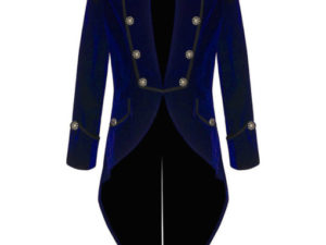 Blue Velvet Goth Steampunk Victorian Tail Coat Jacket (4)