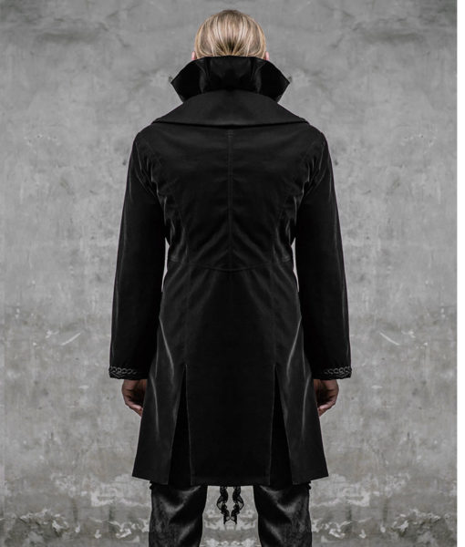 Devil Fashion Akacia Mens Jacket Frock Coat Black Velvet Gothic Steampunk VTG