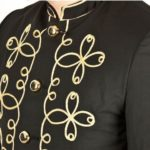 Gold Flower Embroidery Black Military Napoleon Jacket (1)