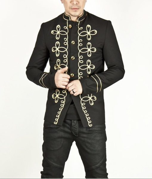 Gold Flower Embroidery Black Military Napoleon Jacket (2)