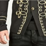 Gold Flower Embroidery Black Military Napoleon Jacket (6)