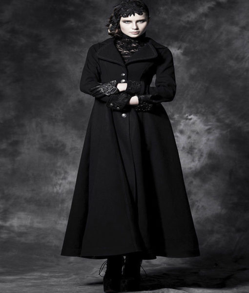 Gothic Black New Long Elegant Women Coat Jacket Vintage cosplay Victorian Aristo