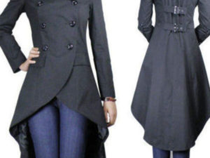 Gothic Punk Long Black Fishtail CoatLong Jacket