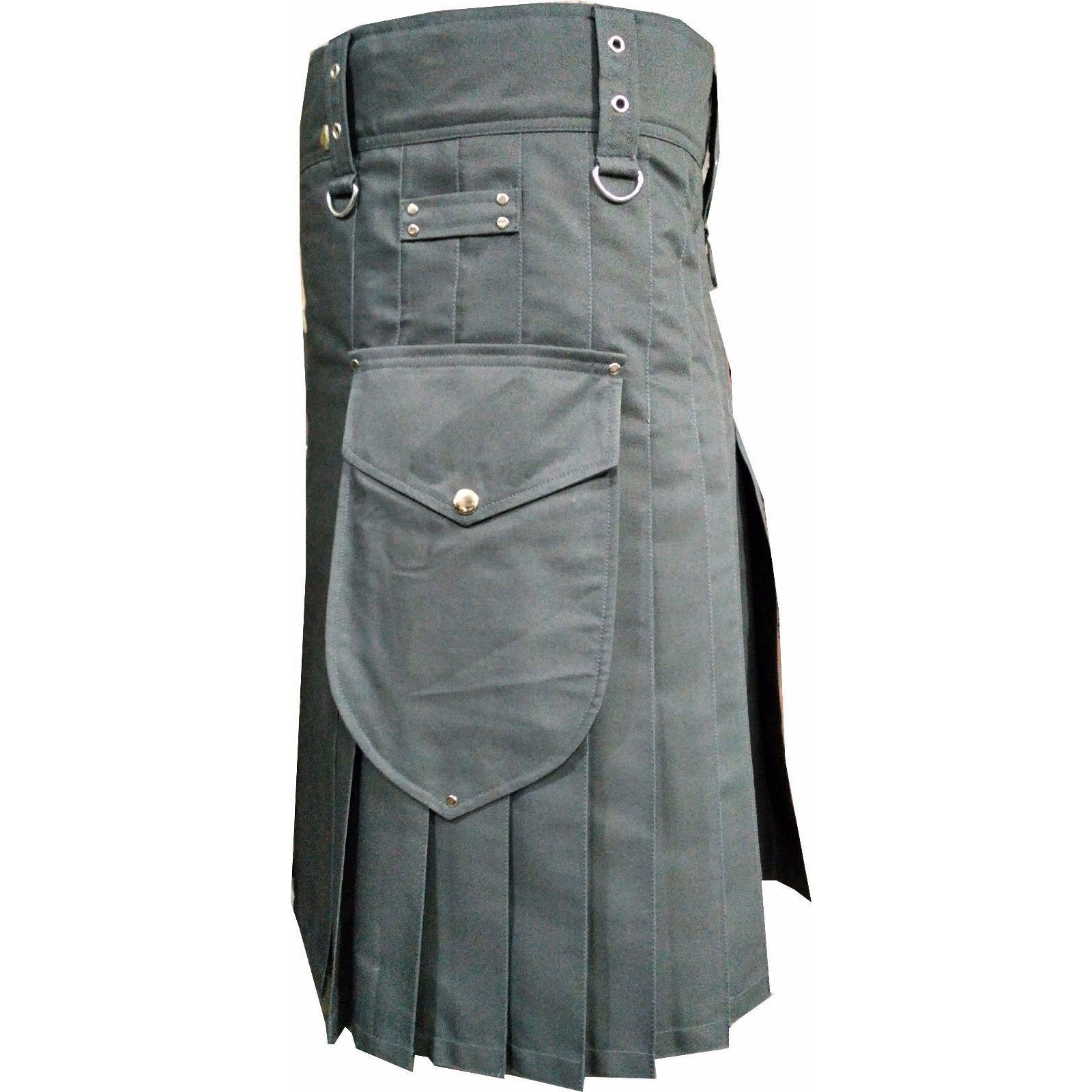 Gray-Scottish-Utility-Sports-Traditional-Kilt-side