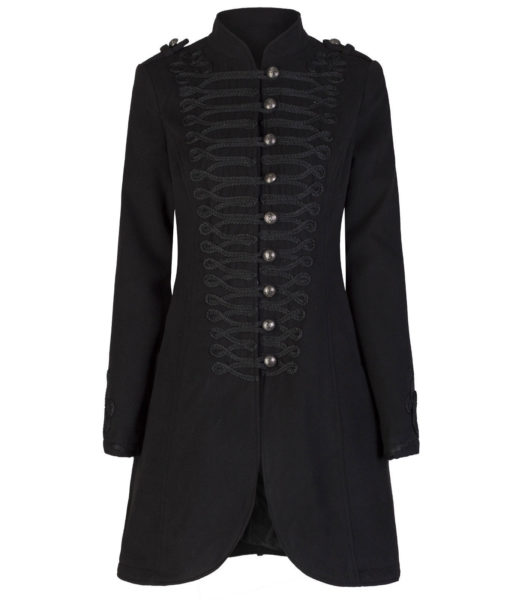 Ladies New Black Military Gothic Style Braided Wool Effect Coat Jacket (4)