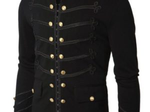 Black Embroidery Military Napoleon Hook Jacket