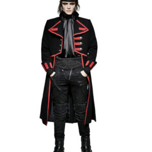 Men Military Long Coat Jacket Black Red Goth Steampunk Regency Aristoc