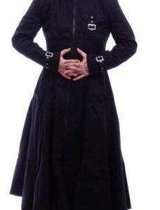 Black Hooded Trench Coat Mens Goth Punk Long Jacket Custom