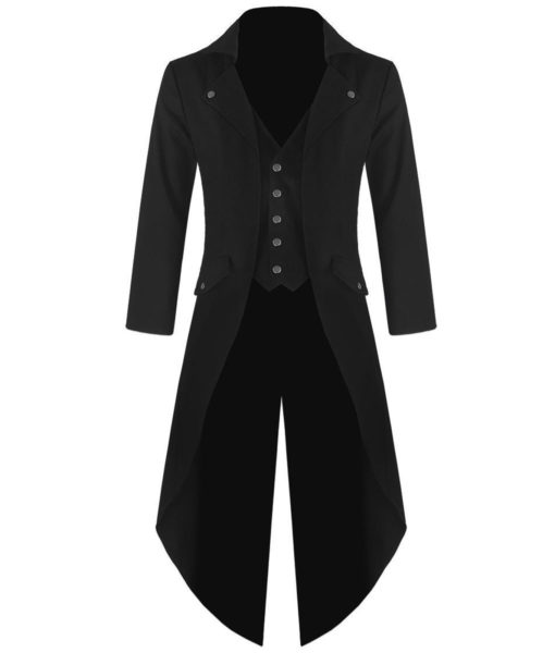 Mens Gothic Tailcoat Jacket Black Steampunk VTG Victorian Coat (1)