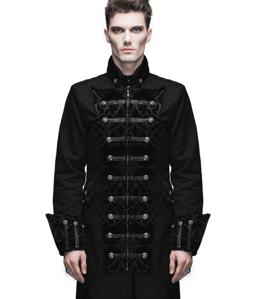 Mens Jacket Gothic Frock Coat Black Steampunk Aristocrat Regency