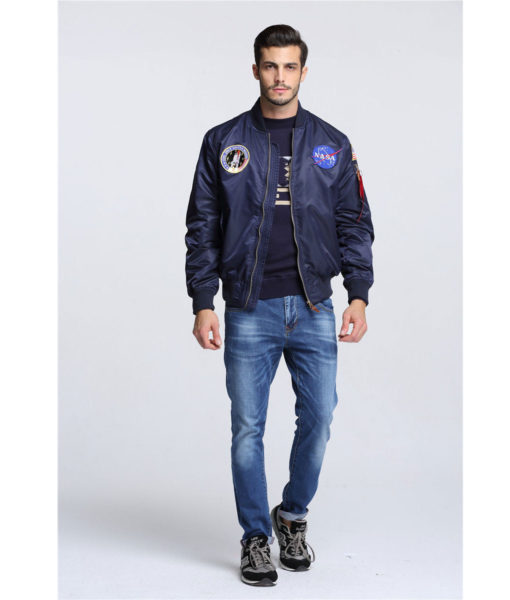 NASA Letterman Varsity American College Bomber Flight Jacket