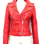 New Biker Style Hide Leather Jacket Ladies Women Brando Red Biker Rock Gothic (4)