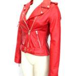 New Biker Style Hide Leather Jacket Ladies Women Brando Red Biker Rock Gothic (5)