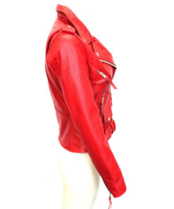 Biker Red Leather Jacket for Women