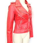 New Biker Style Hide Leather Jacket Ladies Women Brando Red Biker Rock Gothic (9)