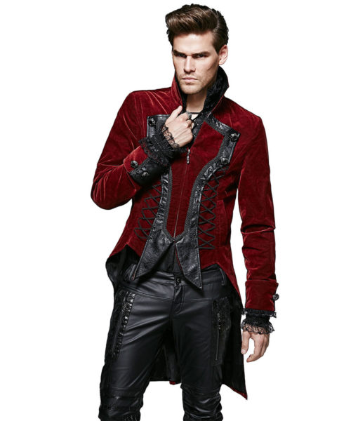 f386a383711f Punk Rave Dandy Mens Jacket Coat Red Goth VTG Steampunk Velvet Tailcoat  Wedding