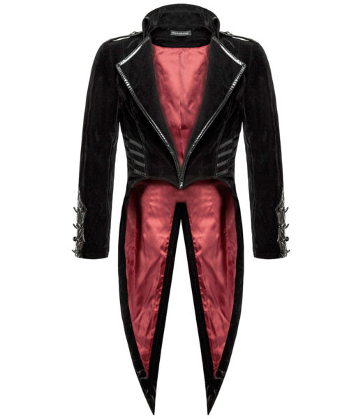 Punk Rave Mens Tailcoat Jacket Black Velvet Gothic Steampunk Vampire Swallowtail (4)