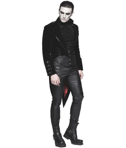 Punk Rave Mens Tailcoat Jacket Black Velvet Gothic Steampunk Vampire Swallowtail (5)