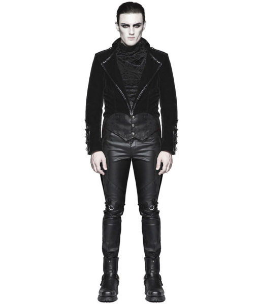 Punk Rave Mens Tailcoat Jacket Black Velvet Gothic Steampunk Vampire Swallowtail (6)