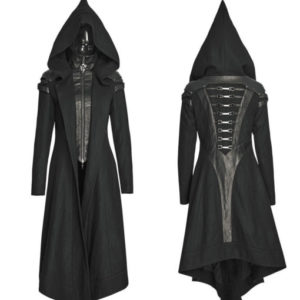 Punk-Rave-Women-Hooded-Long-Jacket-Coat-Black-Goth-Cosplay-Cyber-Steampunk-front-back-510×600