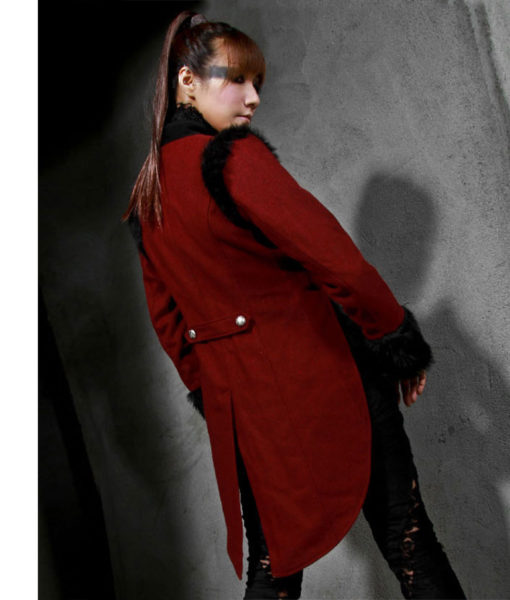RQBL-Womens-Military-Coat-Jacket-Red-Black-Tailcoat-Gothic-VTG-Steampunk-back-model-510×600