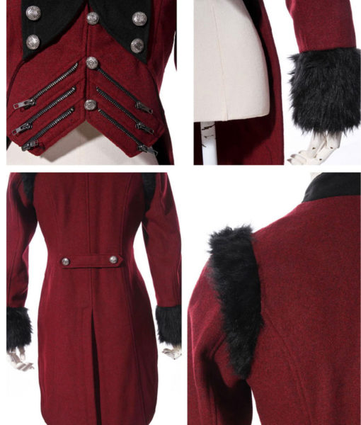 RQBL-Womens-Military-Coat-Jacket-Red-Black-Tailcoat-Gothic-VTG-Steampunk-close-510×600