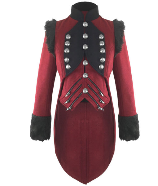 RQBL-Womens-Military-Coat-Jacket-Red-Black-Tailcoat-Gothic-VTG-Steampunk-front-510×600