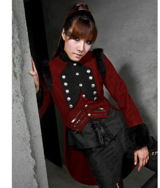 RQBL-Womens-Military-Coat-Jacket-Red-Black-Tailcoat-Gothic-VTG-Steampunk-front-pose-510×600