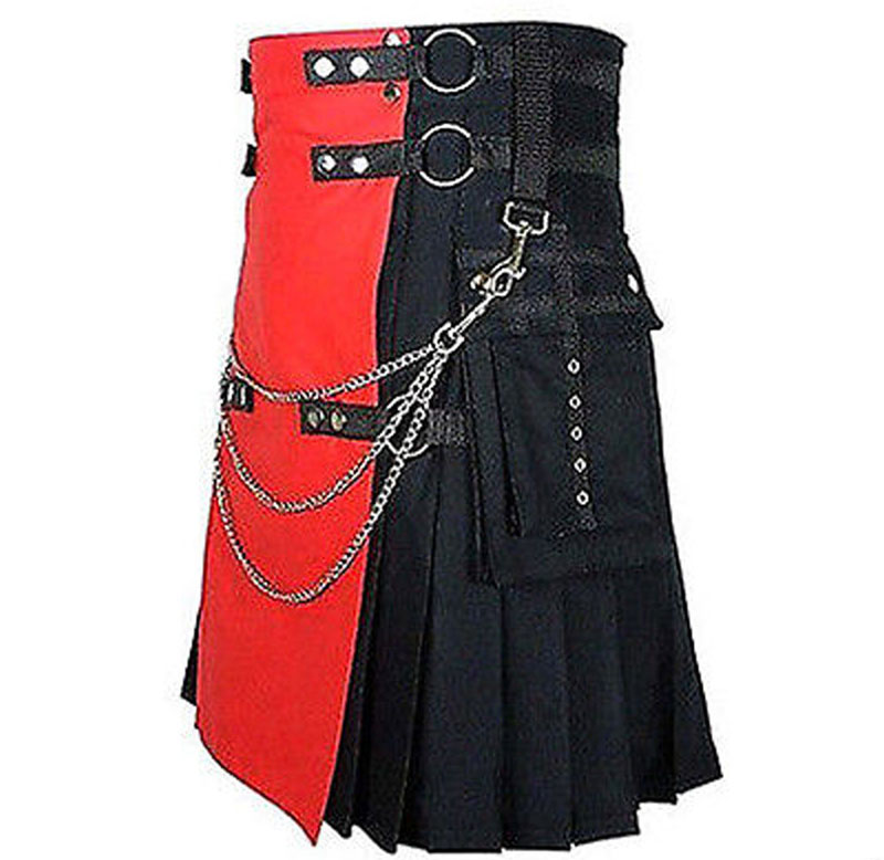 Red-And-Black-Deluxe-Utility-Fashion-kilt-With-Chain-side