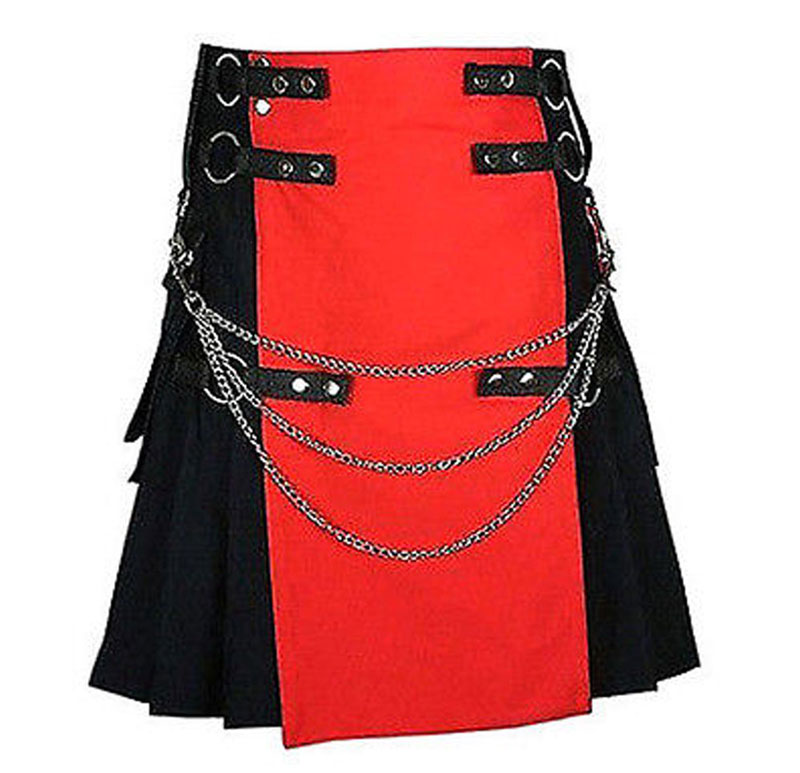 Red-And-Black-Deluxe-Utility-Fashion-kilt-With-Chain