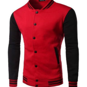 Red Black Baseball Varsity Style Letterman University College Jacket