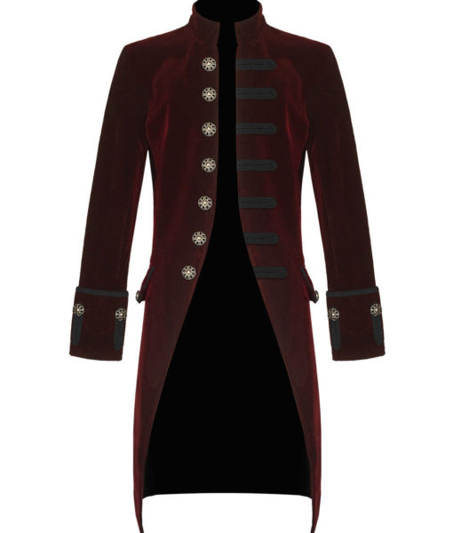 Red Velvet Goth Steampunk Victorian Frock Coat Jacket