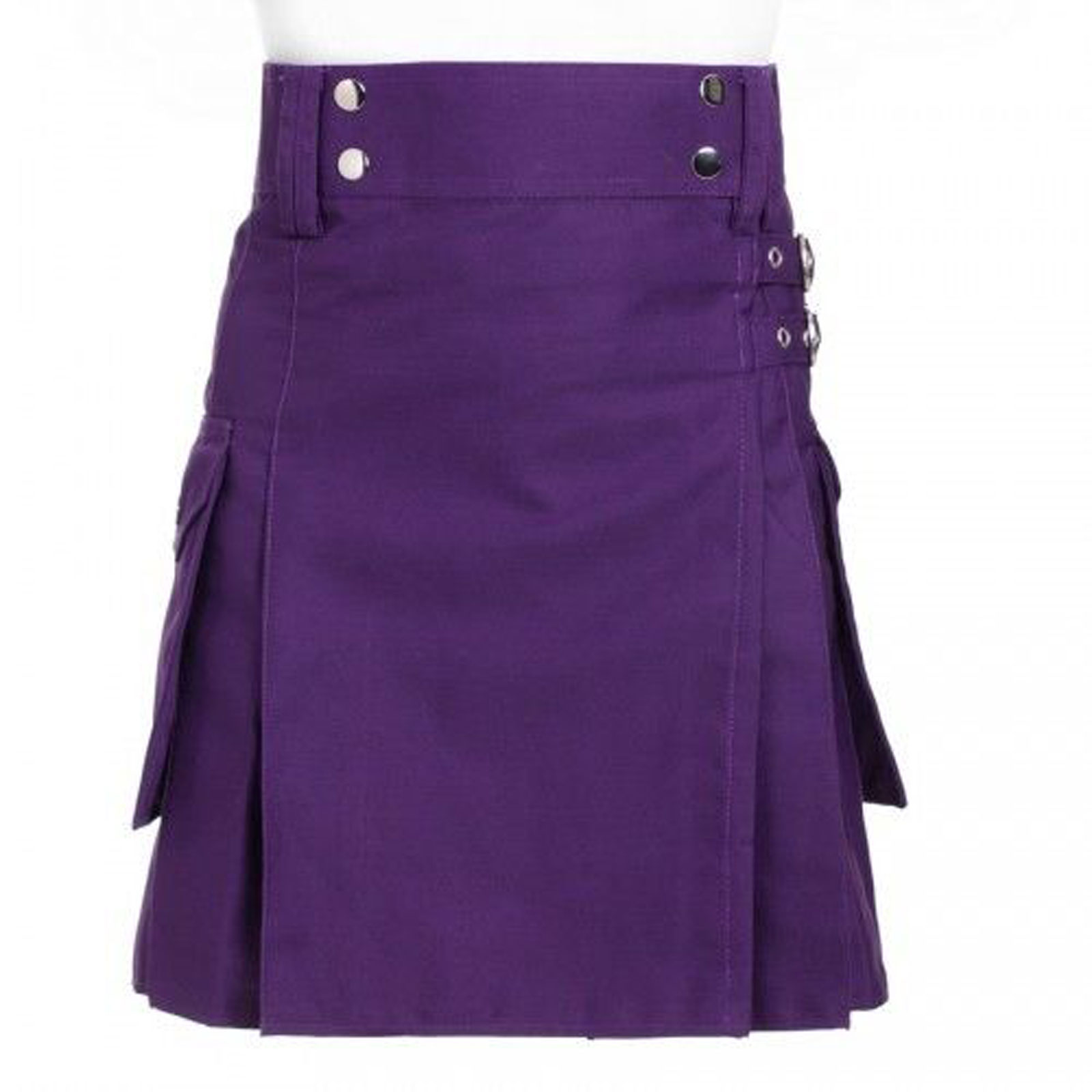 Scottish-Highland-Purple-Utility-Pleated-Kilts-Front