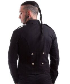 Stylish Handmade Black Military Jacket Goth Punk Style