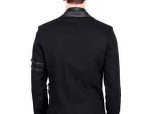 Vintage Goth Steampunk Jacke Herren Schwarz Gothic Jacket Militär VG16