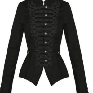 Womens Ladies New Black Gothic Steampunk Military Cotton Tailcoat Coat Jacket UK