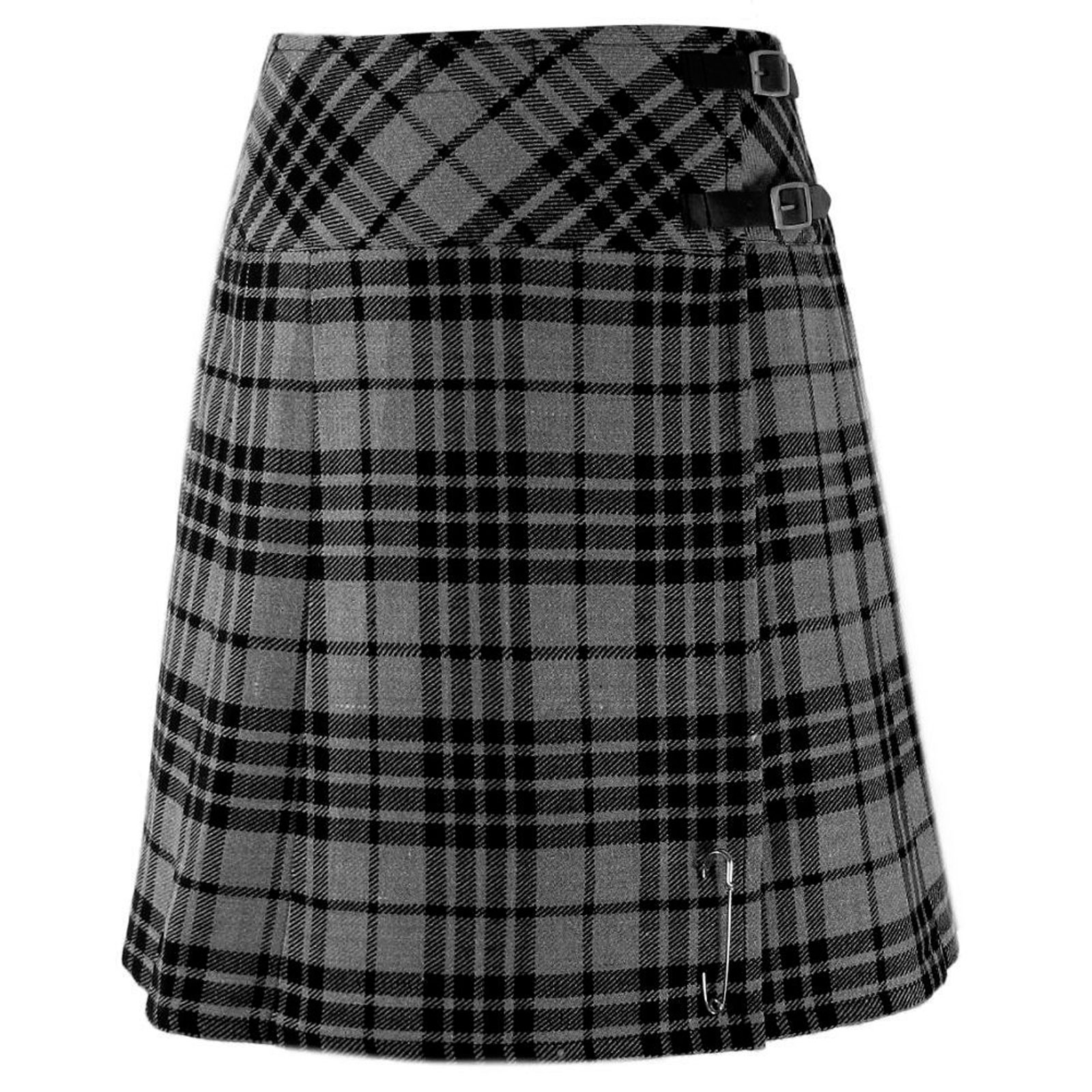 White Wedding Kilt: Ladies Billie Granite Gray Tartan Diagonal Cross Belt