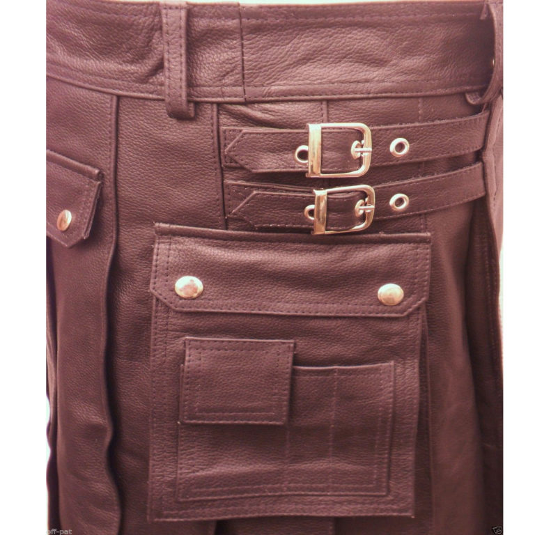 brown-leather-utility-kilt-cargo-pockets-pleated-closeup