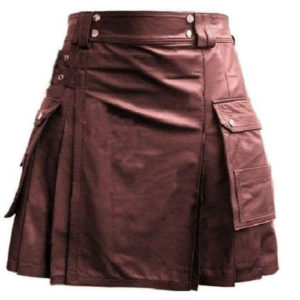 Brown Leather Utility Kilt with Cargo Pockets